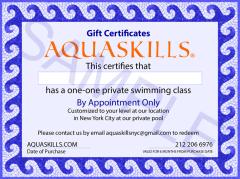 AquaSkills One Private Swim Class Gift Certificate